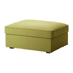 KIVIK cover for footstool with storage, Dansbo yellow-green