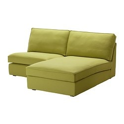 KIVIK one-seat section with chaise longue, Dansbo yellow-green Width: 180 cm Depth: 163 cm Height: 83 cm