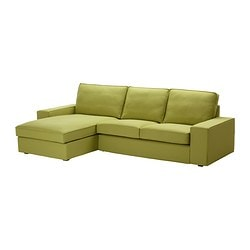 KIVIK two-seat sofa and chaise longue, Dansbo yellow-green Max. width: 280 cm Min. depth: 95 cm Max. depth: 163 cm