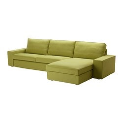 KIVIK three-seat sofa and chaise longue, Dansbo yellow-green Max. width: 318 cm Min. depth: 95 cm Max. depth: 163 cm