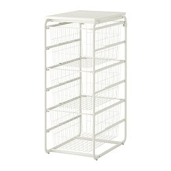 ALGOT frame/3 wire baskets/top shelf, white Width: 41 cm Depth: 60 cm Height: 102 cm