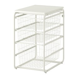 ALGOT frame/3 wire baskets/top shelf, white Width: 41 cm Depth: 60 cm Height: 72 cm
