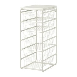 ALGOT frame/4 wire baskets/top shelf, white Width: 41 cm Depth: 60 cm Height: 102 cm