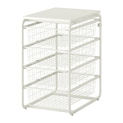 ALGOT frame/4 wire baskets/top shelf, white Width: 41 cm Depth: 60 cm Height: 72 cm