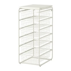 ALGOT frame/6 wire baskets/top shelf, white Width: 41 cm Depth: 60 cm Height: 102 cm