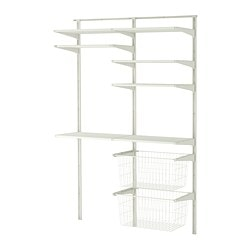 ALGOT wall upright/shelves/drying rack, white Width: 132 cm Depth: 40 cm Height: 196 cm