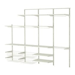 ALGOT wall upright/shelves/trouser hanger, white Width: 254 cm Depth: 40 cm Height: 196 cm