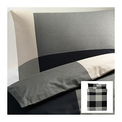 "BRUNKRISSLA duvet cover and pillowcase(s), gray, black Duvet cover length: 86 "" Duvet cover width: 86 "" Pillowcase length: 20 "" Duvet cover length: 218 cm Duvet cover width: 218 cm Pillowcase length: 51 cm"