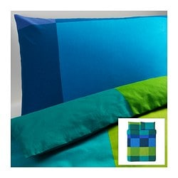 "BRUNKRISSLA duvet cover and pillowcase(s), blue Duvet cover length: 86 "" Duvet cover width: 86 "" Pillowcase length: 20 "" Duvet cover length: 218 cm Duvet cover width: 218 cm Pillowcase length: 51 cm"