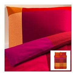 "BRUNKRISSLA duvet cover and pillowcase(s), red Duvet cover length: 86 "" Duvet cover width: 86 "" Pillowcase length: 20 "" Duvet cover length: 218 cm Duvet cover width: 218 cm Pillowcase length: 51 cm"