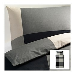 "BRUNKRISSLA duvet cover and pillowcase(s), gray, black Duvet cover length: 86 "" Duvet cover width: 64 "" Pillowcase length: 20 "" Duvet cover length: 218 cm Duvet cover width: 162 cm Pillowcase length: 51 cm"