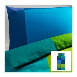 "BRUNKRISSLA duvet cover and pillowcase(s), blue Duvet cover length: 86 "" Duvet cover width: 64 "" Pillowcase length: 20 "" Duvet cover length: 218 cm Duvet cover width: 162 cm Pillowcase length: 51 cm"