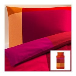 "BRUNKRISSLA duvet cover and pillowcase(s), red Duvet cover length: 86 "" Duvet cover width: 64 "" Pillowcase length: 20 "" Duvet cover length: 218 cm Duvet cover width: 162 cm Pillowcase length: 51 cm"