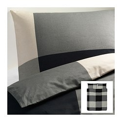 BRUNKRISSLA quilt cover and 2 pillowcases, grey, black Quilt cover length: 230 cm Quilt cover width: 200 cm Pillowcase length: 50 cm
