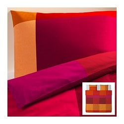 BRUNKRISSLA quilt cover and 2 pillowcases, red Quilt cover length: 220 cm Quilt cover width: 240 cm Pillowcase length: 50 cm