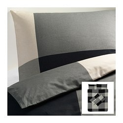 BRUNKRISSLA quilt cover and 4 pillowcases, grey, black Quilt cover length: 200 cm Quilt cover width: 200 cm Pillowcase length: 50 cm