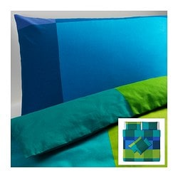 BRUNKRISSLA quilt cover and 4 pillowcases, blue Quilt cover length: 220 cm Quilt cover width: 240 cm Pillowcase length: 50 cm