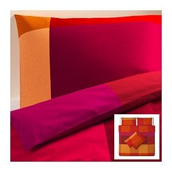 BRUNKRISSLA quilt cover and 4 pillowcases, red Quilt cover length: 220 cm Quilt cover width: 240 cm Pillowcase length: 50 cm