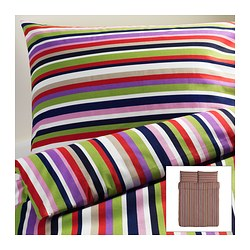 "DVALA duvet cover and pillowcase(s), multicolor, stripe Duvet cover length: 86 "" Duvet cover width: 86 "" Pillowcase length: 20 "" Duvet cover length: 218 cm Duvet cover width: 218 cm Pillowcase length: 51 cm"