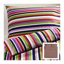 "DVALA duvet cover and pillowcase(s), multicolor, stripe Duvet cover length: 86 "" Duvet cover width: 102 "" Pillowcase length: 20 "" Duvet cover length: 218 cm Duvet cover width: 259 cm Pillowcase length: 51 cm"