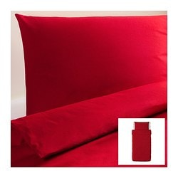 "DVALA duvet cover and pillowcase(s), red Duvet cover length: 86 "" Duvet cover width: 64 "" Pillowcase length: 20 "" Duvet cover length: 218 cm Duvet cover width: 162 cm Pillowcase length: 51 cm"