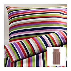 "DVALA duvet cover and pillowcase(s), multicolor, stripe Duvet cover length: 86 "" Duvet cover width: 64 "" Pillowcase length: 20 "" Duvet cover length: 218 cm Duvet cover width: 162 cm Pillowcase length: 51 cm"