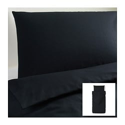DVALA quilt cover and 2 pillowcases, black Quilt cover length: 200 cm Quilt cover width: 150 cm Pillowcase length: 50 cm