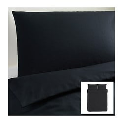 DVALA quilt cover and 2 pillowcases, black Quilt cover length: 230 cm Quilt cover width: 200 cm Pillowcase length: 50 cm