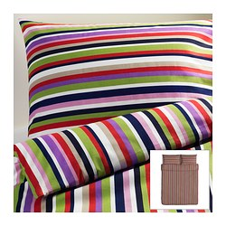 DVALA quilt cover and 2 pillowcases, multicolour, striped Quilt cover length: 230 cm Quilt cover width: 200 cm Pillowcase length: 50 cm