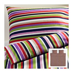 DVALA quilt cover and 2 pillowcases, multicolour, striped Quilt cover length: 220 cm Quilt cover width: 240 cm Pillowcase length: 50 cm