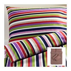 DVALA quilt cover and 4 pillowcases, multicolour, striped Quilt cover length: 200 cm Quilt cover width: 200 cm Pillowcase length: 50 cm