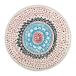 "VIRRING rug, low pile Diameter: 31 1/2 "" Area: 5 sq feet Surface density: 8 oz/sq ft Diameter: 80 cm Area: 0.50 m² Surface density: 2400 g/m²"