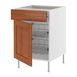 "AKURUM base cab w wire basket/drawer/door, Lixtorp brown, white Depth: 24 3/4 "" Height: 30 3/8 "" Width: 14 7/8 "" Depth: 62.8 cm Height: 77 cm Width: 38 cm"