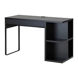 MICKE desk with integrated storage, black-brown Width: 120 cm Depth: 50 cm Height: 75 cm
