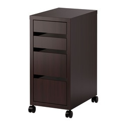 MICKE drawer unit on castors, black-brown Width: 35 cm Depth: 50 cm Height: 75 cm