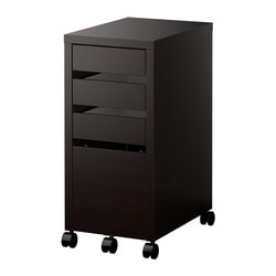 MICKE drawer unit with drop-file storage, black-brown Width: 35 cm Depth: 50 cm Height: 75 cm