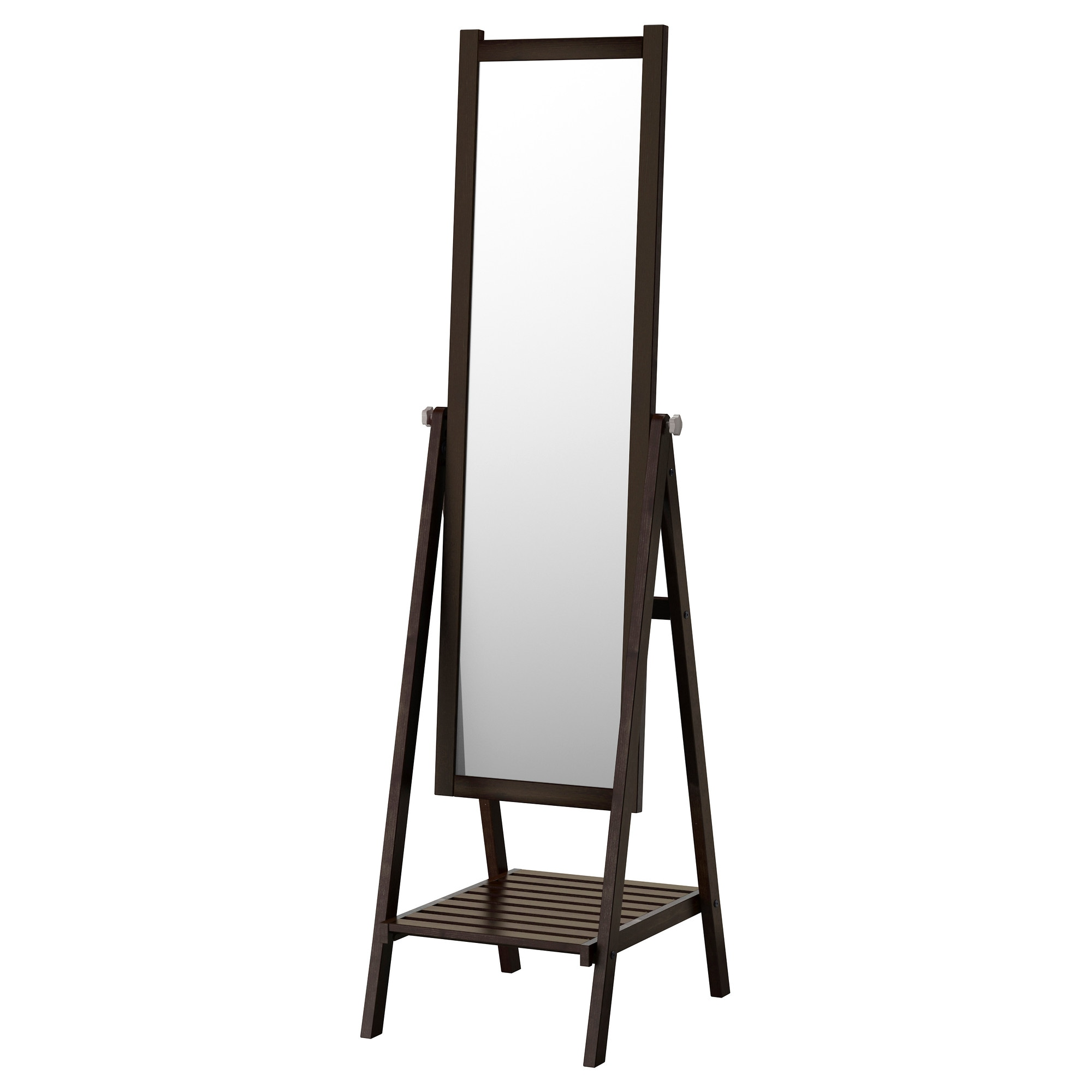 mirrors  floor table  wall mirrors  ikea - isfjorden standing mirror blackbrown stain width    depth