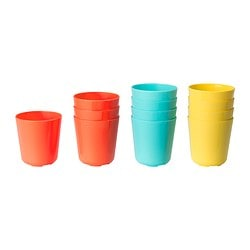 SOMMARFINT mug, assorted colours Height: 9 cm Volume: 26 cl Package quantity: 4 pack