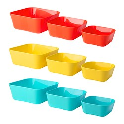 SOMMARFINT serving bowl, set of 3, assorted colours