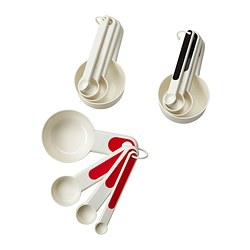 STÄM set of 4 measuring cups, red, white/black