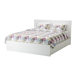 MALM bed frame, high, w 4 storage boxes, Luröy, white Length: 209 cm Width: 196 cm Footboard height: 38 cm