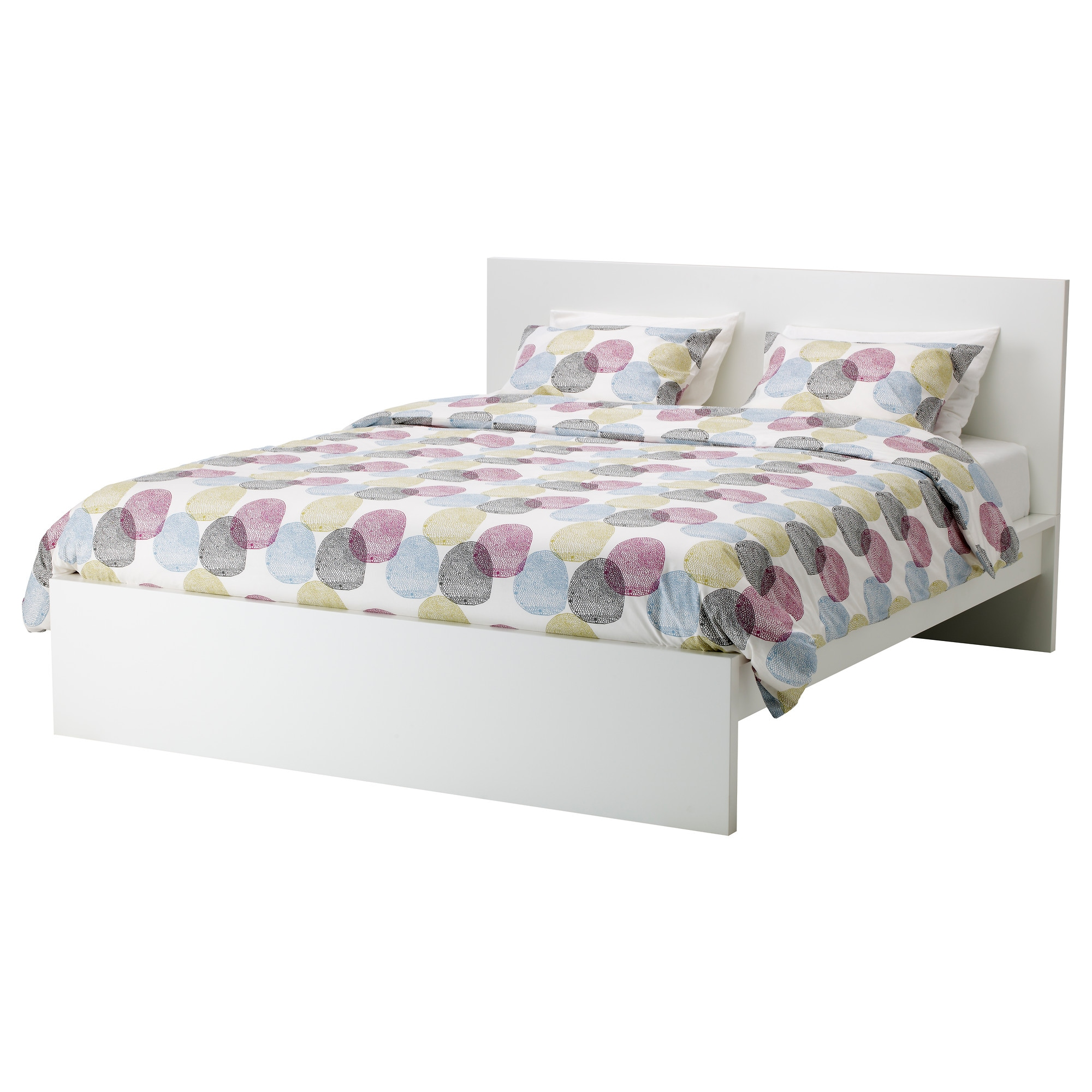 MALM Bed frame high white stained oak veneer Queen Luröy IKEA