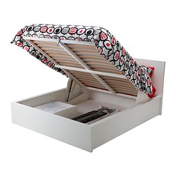 MALM ottoman bed, white Length: 199 cm Width: 150 cm Footboard height: 38 cm