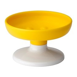 LOSJÖN soap dish, white/yellow Diameter: 11 cm Height: 6.5 cm