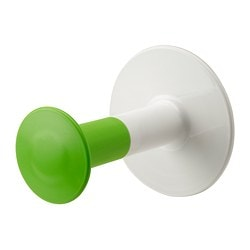 LOSJÖN toilet roll holder, white/green Depth: 13.5 cm Diameter: 11 cm Max. load: 1 kg