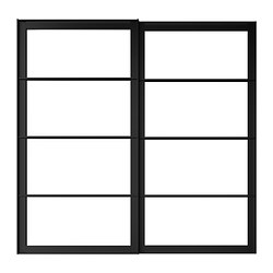 "PAX pair of sliding door frames & rail, black Width: 59 "" Built-in depth: 3 1/8 "" Height: 79 1/8 "" Width: 150 cm Built-in depth: 8 cm Height: 201 cm"