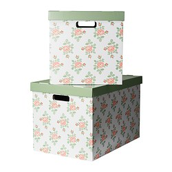 PINGLA box with lid, flowers Width: 56 cm Depth: 37 cm Height: 36 cm