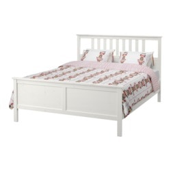 HEMNES bed frame, Luröy, white stain Length: 211 cm Width: 154 cm Footboard height: 66 cm