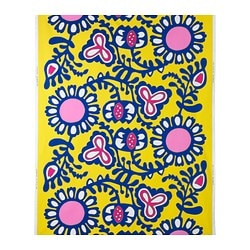 FÄRGKULLA fabric, floral patterned yellow, blue/pink Weight.: 230 g/m² Width: 150 cm Pattern repeat: 92 cm