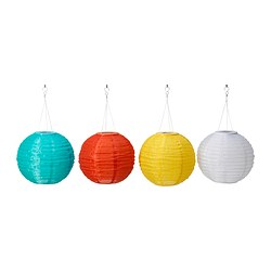 SOLVINDEN solar-powered pendant lamp, globe assorted colours white Diameter: 30 cm Total height: 55 cm Shade height: 30 cm